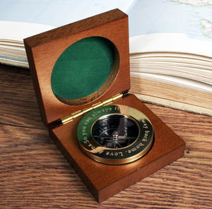Personalised Brass Compass Paperweight With Wooden Box - desk accessories
