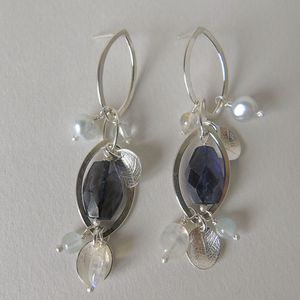 Dewdrop And Leaf Silver Waterfall Earrings - earrings
