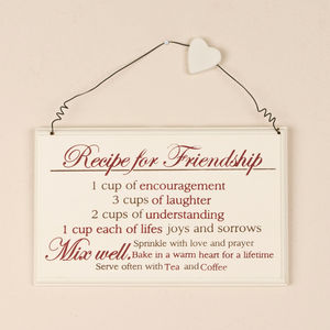 Recipe For Friendship Gift Plaque