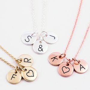 Triple Letter Disc Necklace