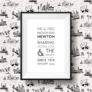 Mr And Mrs Personalised Print - mr & mrs