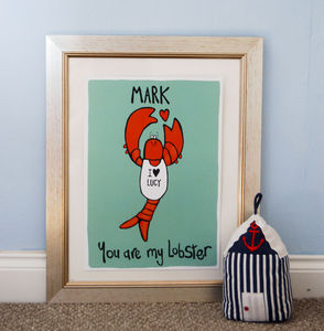 Personalised Lobster Lover Valentines Illustration