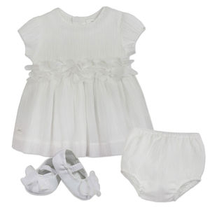 Baby Girl Silk Flower Christening Dress With Booties