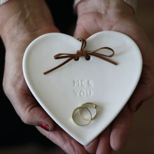 White Porcelain Wedding Ring Dish Me You / Forever