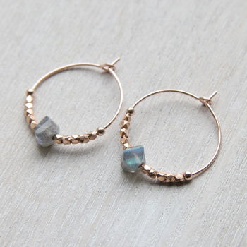 Rose Gold And Labradorite Hoops