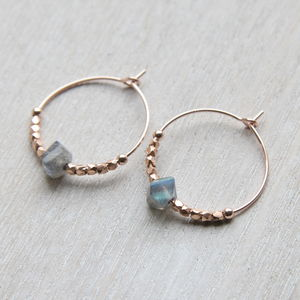 Rose Gold And Labradorite Hoops - for grandmothers