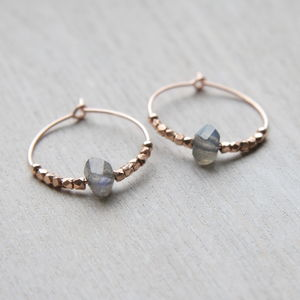 Rose Gold And Labradorite Hoops - earrings