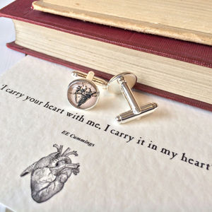 'I Carry Your Heart' Anatomical Heart Cufflinks - cufflinks