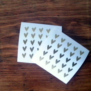 Tiny Gold Heart Stickers - ribbon & gift tags