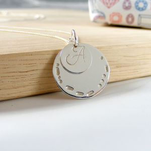Silver Morse Code Love Initial Necklace