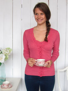 Wavy Lace Camisole And Cardigan In Pink - jumpers & cardigans