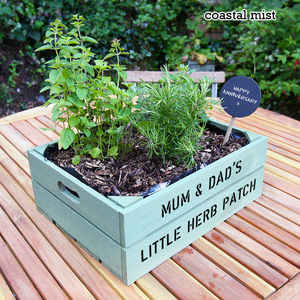 Personalised Medium Crate With Herb Seeds - gifts for grandparents