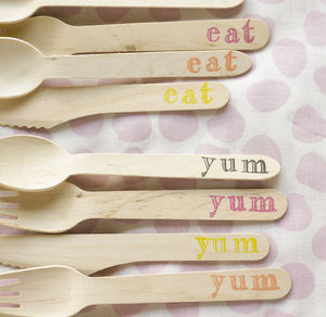Hand Stamped Wooden Cutlery