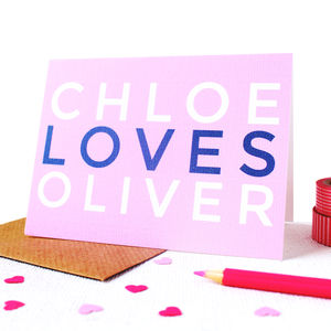 Personalised 'Loves' Card - anniversary cards