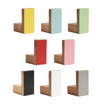 Colours Wall Hooks Wooden Rectangular Shape