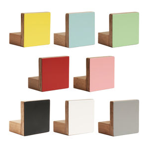 Colours Wall Hooks Wooden Square Shape