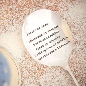 'Recipe Of Love' Vintage Silver Plated Table Spoon - dining room