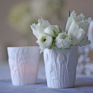 White Spring Flowers Tea Light Holders / Votives - votives & tea light holders
