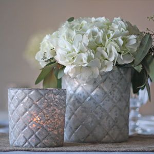 Luxe Frosted White Quilted Vase Votive - kitchen