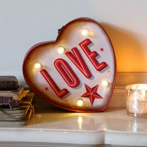 Retro Light Up 'Love' Heart Metal Sign - gifts for her sale