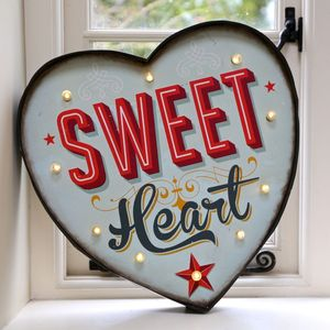 Large Retro Light Up 'Sweet Heart' Metal Sign