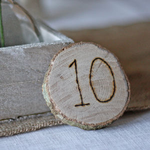 Wooden Disc Table Numbers - rustic wedding
