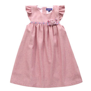 Pink Corsage Wool Pinafore Dress - flower girl fashion