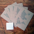 World Map Kraft Postcards