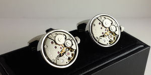 Round Clock Mechanism Decorative Cufflinks - cufflinks