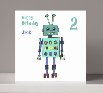 Personalised Robot Boy's Birthday Card