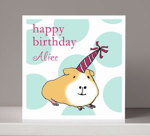 Personalised Guinea Pig Girl Or Boy's Birthday Card
