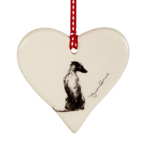 Serene Whippet Hanging Love Heart