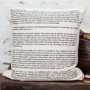 Pride And Prejudice Cushion Cover Book Page Print - patterned cushions