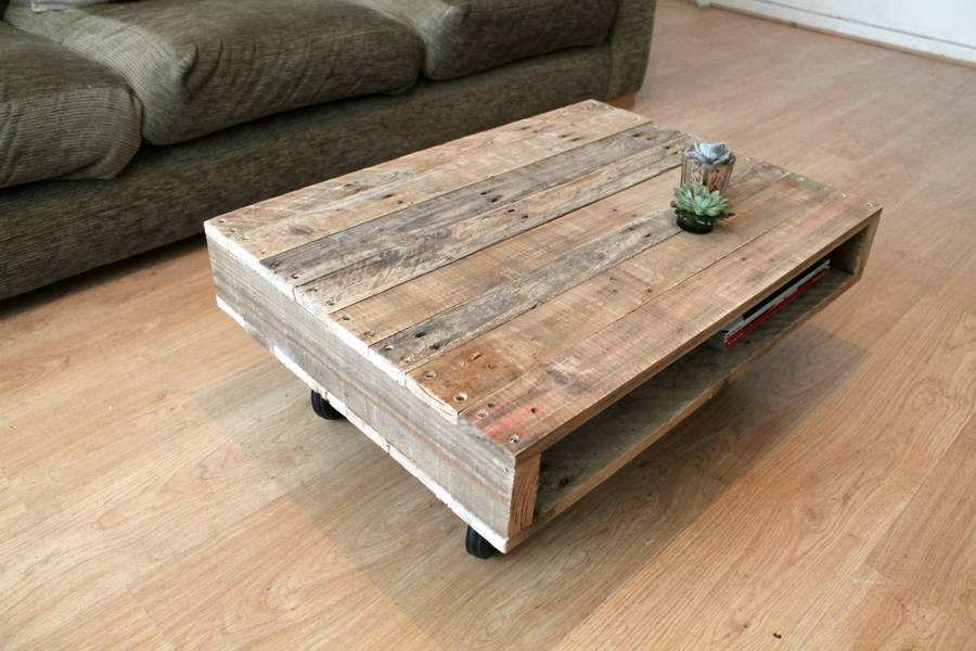 On Wheels Small Wood Coffee Table By Gas Amp Air Studios Ltd