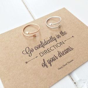 Literary Quote Arrow Ring - jewellery sale