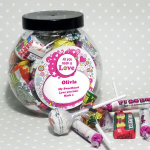 All You Need Is Love Pink Personalised Sweet Jar