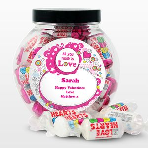 Love Hearts Personalised Sweet Jar