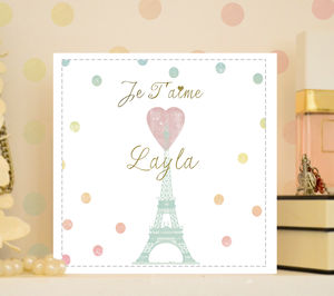 Personalised Love Card Valentines 'Dotty Paris' - engagement cards