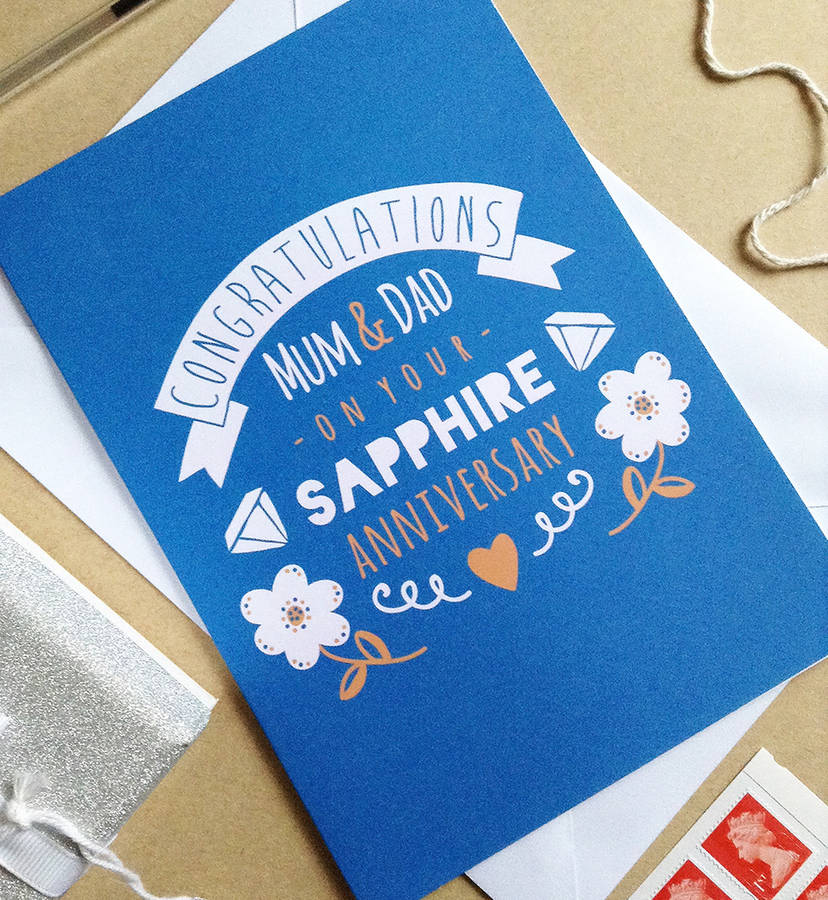 Personalised sapphire wedding anniversary card by ello