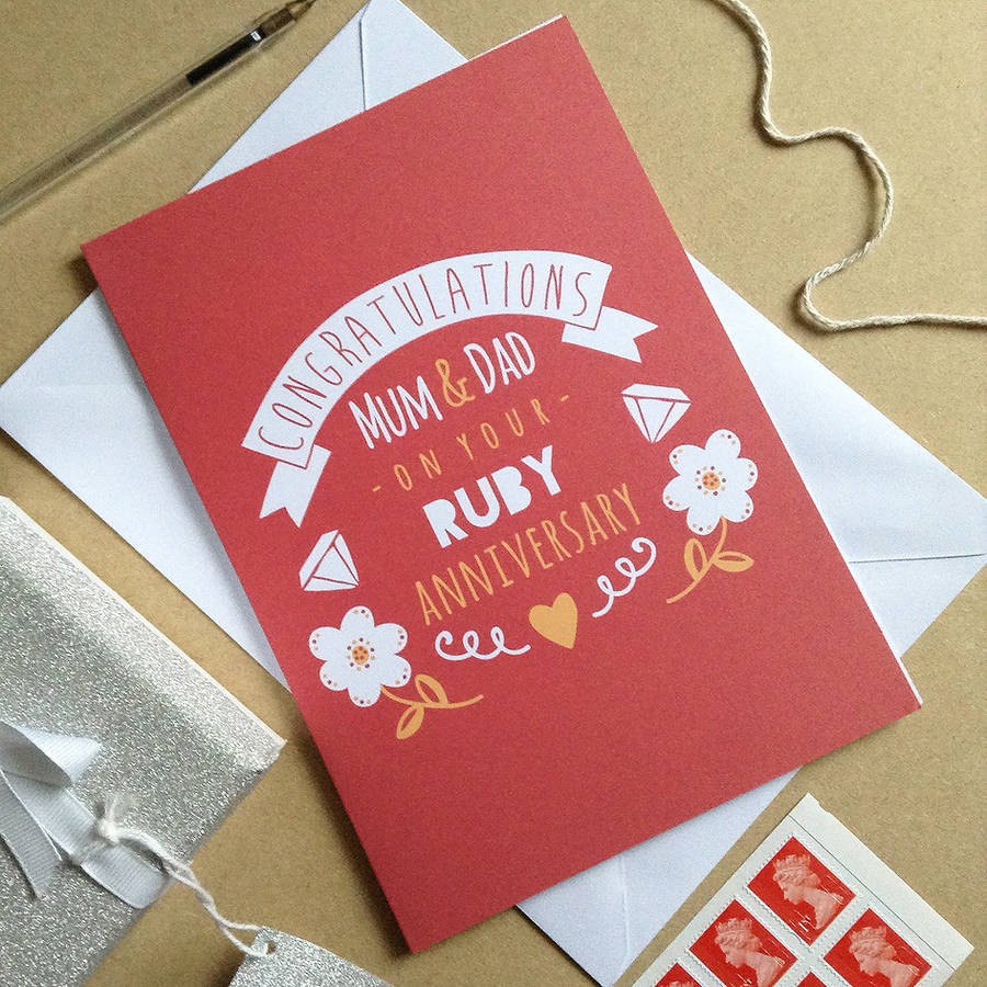 personalised ruby wedding anniversary card by ello design ...