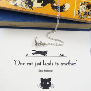 Ernest Hemingway Cat Lover Necklace