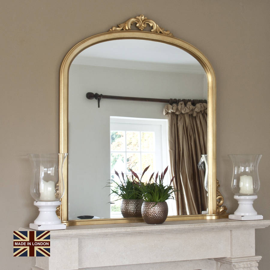 victoria antiqued gold overmantel mirror by decorative. Black Bedroom Furniture Sets. Home Design Ideas