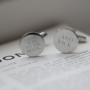I Love You To The Moon… Silver Cufflinks - gifts for him