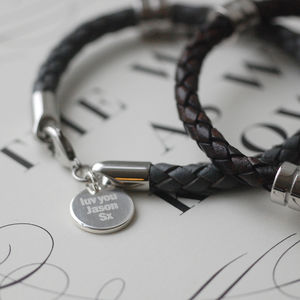 Personalised Pendant Leather Wristband - men's jewellery