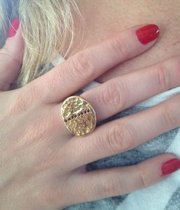 Silver Gold Plated Red Garnet Disc Ring - rings