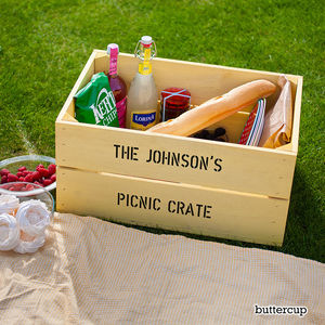 Personalised Wooden Picnic Crate Hamper - camping