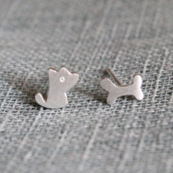 Sterling Silver Puppy And Bone Ear Studs