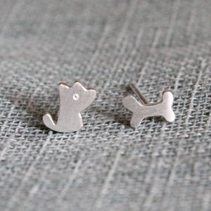 Sterling Silver Puppy And Bone Ear Studs - earrings