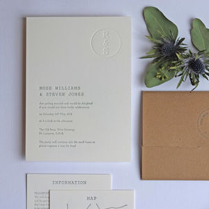 Retro Stamp Letterpress Wedding Invitation - wedding stationery