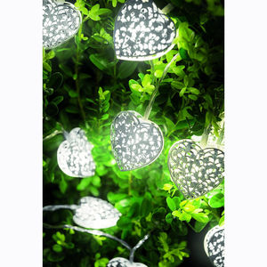 10 Silver Filigree Valentine's Heart String Lights - tree decorations